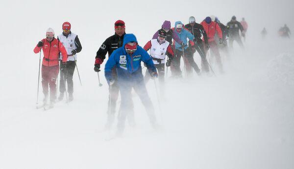Лыжники на тренировочном сборе