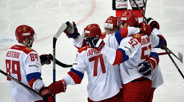 Хоккеисты сборной России Никита Нестеров, Кирилл Капризов, Максим Шалунов и Никита Гусев (слева направо)