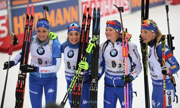 Биатлонистки сборной Италии Лиза Виттоцци, Доротея Вирер, Николь Гонтье и Федерика Санфилиппо (слева направо)