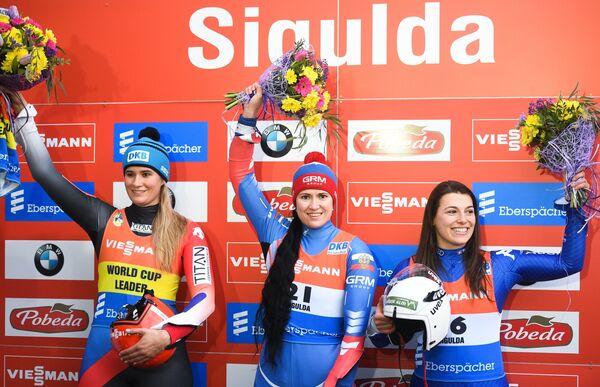Натали Гайзенбергер, Татьяна Иванова и Сандра Робатчер (слева направо)