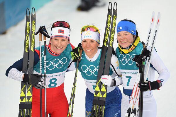 Марит Бьёрген, Шарлотта Калла и Криста Пярмякоски (слева направо)