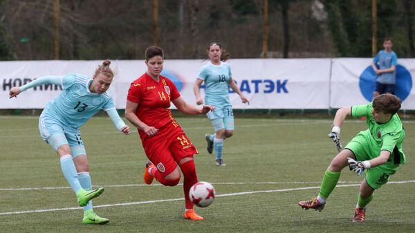 Игровой момент матча турнира Кубанская весна между молодежными сборными России и Румынии