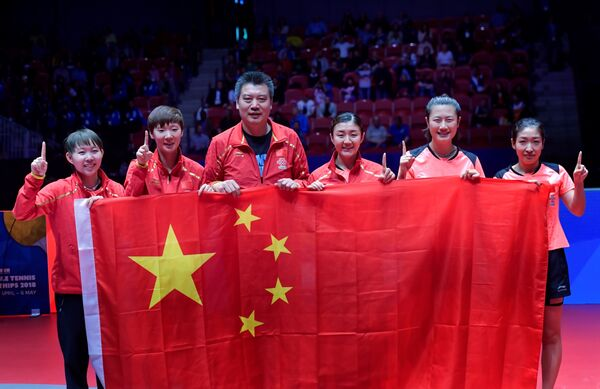Игроки сборной Китая по настольному теннису