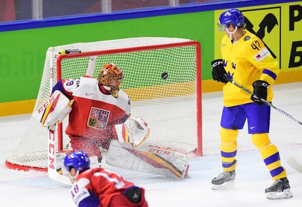 Вратарь сборной Чехии Давид Риттих (слева) и форвард сборной Швеции Хампус Линдхольм