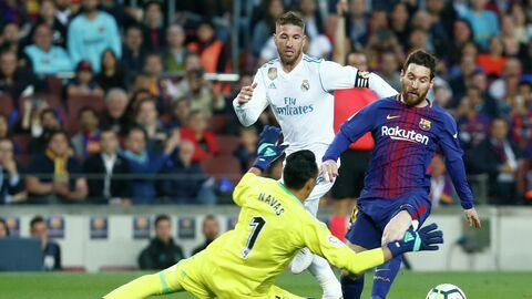 Вратарь Реала Кейлор Навас, защитник Реала Серхио Рамос и форвард Барселоны Лионель Месси (слева направо)