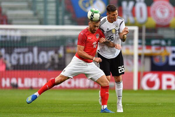 Игровой момент товарищеского матча Австрия - Германия