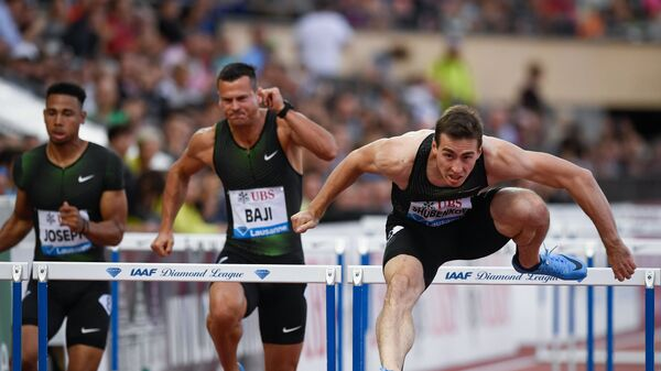 Сергей Шубенков (справа) на этапе Бриллиантовой лиги в Лозанне