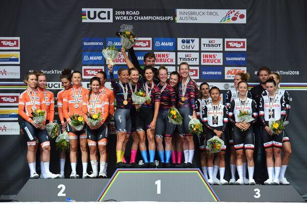 Призеры женской командной гонки на время на чемпионате мира по велоспорту на шоссе