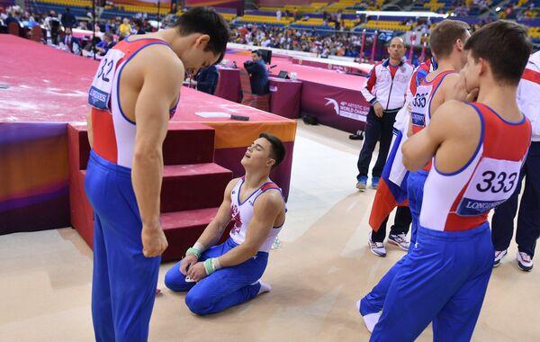 Российские гимнасты Николай Куксенков, Никита Нагорный и Дмитрий Ланкин (слева направо)