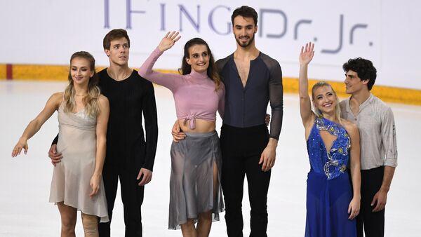 Виктория Синицина и Никита Кацалапов, Габриэлла Пападакис и Гийом Сизерон, Пайпер Гиллес и Поль Пуарье (слева направо)
