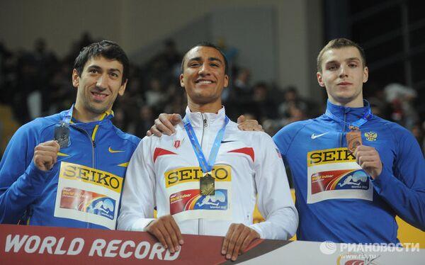 Алексей Касьянов, Эштон Итон и Артем Лукьяненко (слева направо)