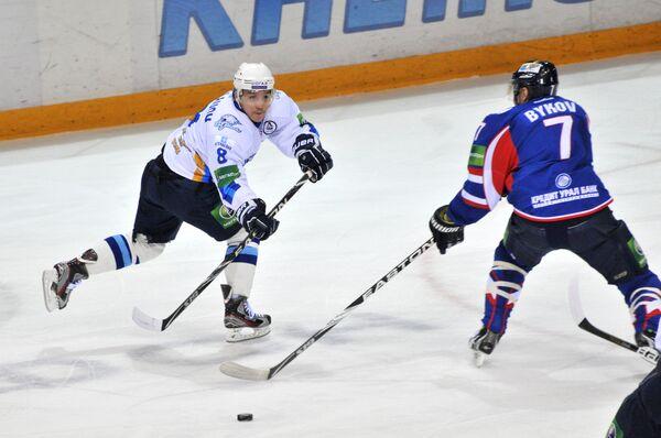 Игровой момент матча Металлург (Магнитогорск) – Барыс (Астана)