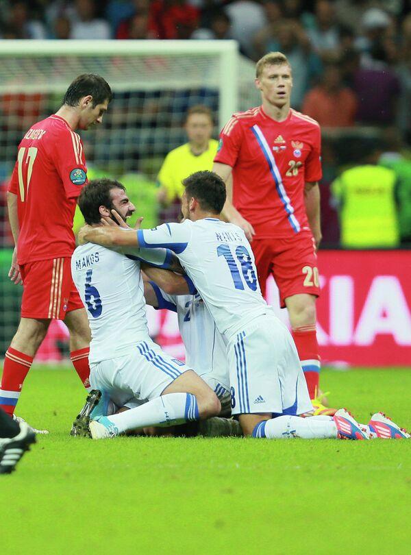 Игровой момент матча Греция - Россия