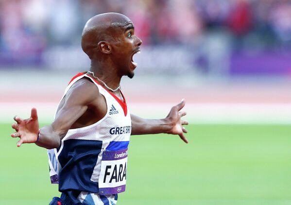 Британский легкоатлет Мо Фара в финале соревнований в беге на 5 тысяч метров