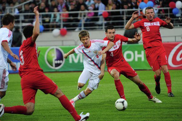 Игровой момент матча молодежных сборных России и Польши