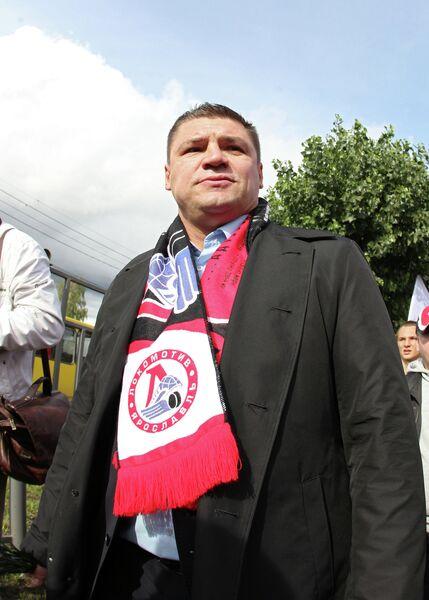 Председатель профсоюза игроков Континентальной хоккейной лиги (КХЛ) Андрей Коваленко во время Марша тишины