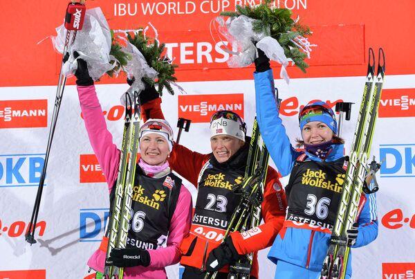Дарья Домрачева, Тура Бергер и Екатерина Глазырина (слева направо)