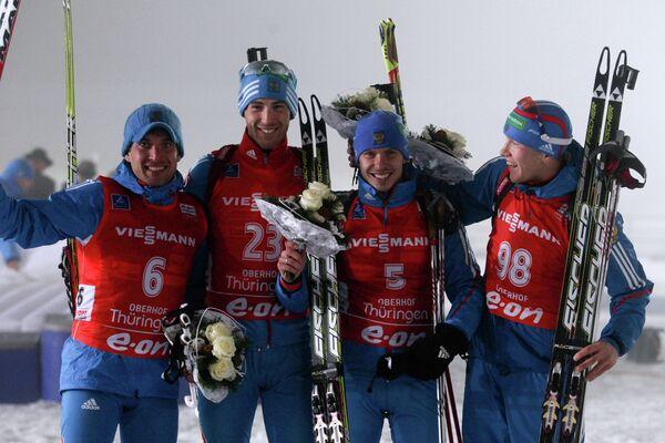 Российские спортсмены Евгений Гараничев, Дмитрий Малышко, Евгений Устюгов и Алексей Волков (слева направо)