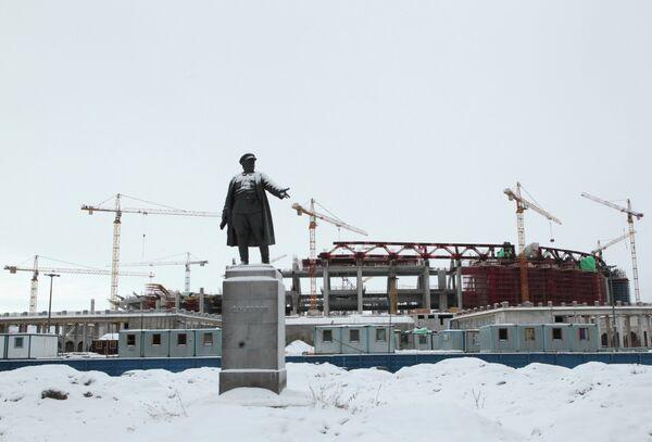 Строительство стадиона Зенит-арена в Санкт-Петербурге.