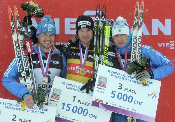 Илья Черноусов, швейцарец Дарио Колонья и Александр Легков (слева направо)