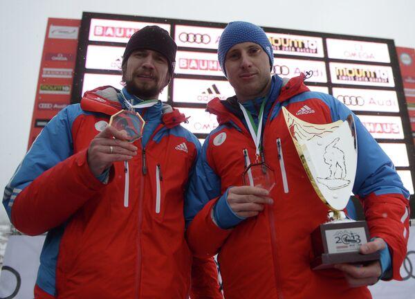 Российские спортсмены Александр Третьяков (первое место) и Сергей Чудинов (третье место)