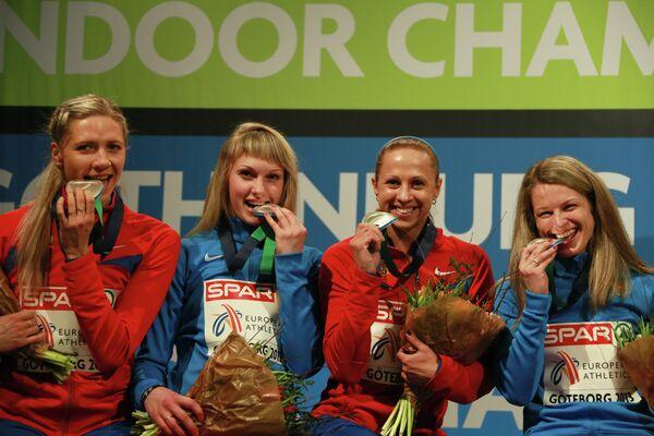 Россиянки Надежда Котлярова, Ольга Товарнова, Ксения Задорина, и Татьяна Вешкурова (слева направо)