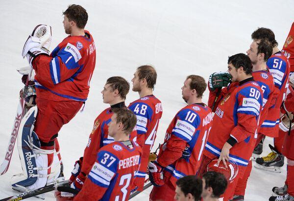 Хоккеисты сборной России после окончания матча со сборной США