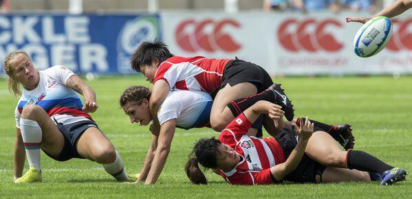 Игровой момент матча сборных России и Японии