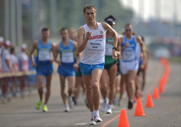 Российский спортсмен Андрей Рузавин в финальных соревнованиях по спортивной ходьбе на дистанции 20 км среди мужчин