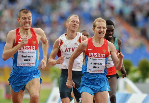 Валентин Смирнов, Дмитрийс Юркевичс и Егор Николаев (слева направо)