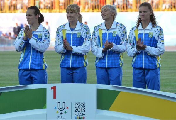 Сборная Украины, завоевавшая золотые медали в эстафете 4х100 м среди женщин