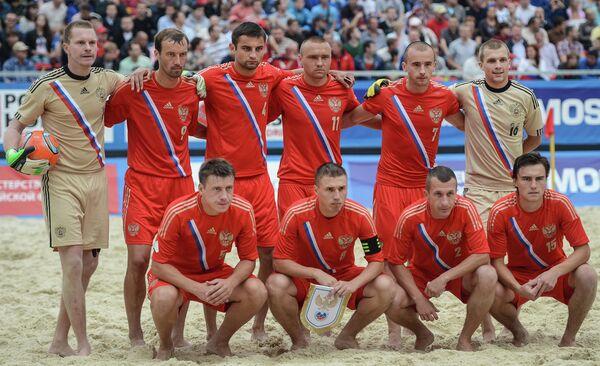 Игроки сборной России по пляжному футбол