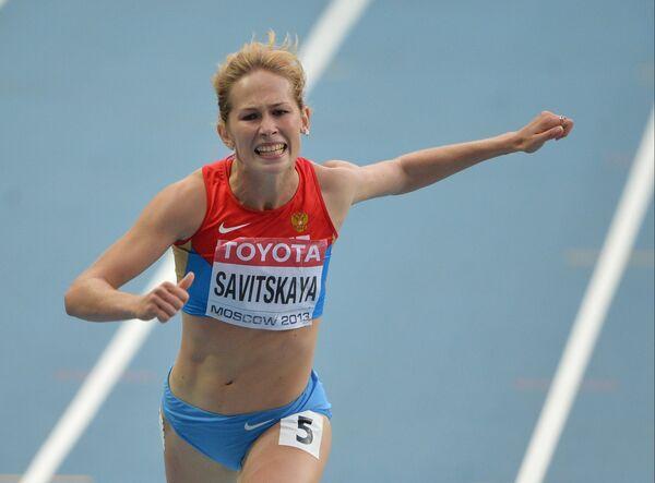 Россиянка Кристина Савицкая в забеге на 200 метров в семиборье