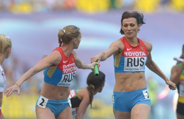 Российские спортсменки в предварительном забеге эстафеты 4х400 м среди женщин