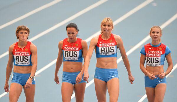 Российские спортсменки Елена Болсун, Елизавета Савлинис, Наталья Русакова и Ольга Белкина (слева направо)