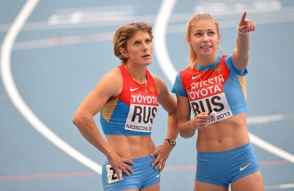 Российские спортсменки Елена Болсун (слева) и Ольга Белкина
