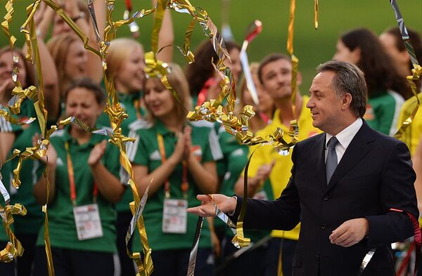 Министр спорта РФ Виталий Мутко на церемонии закрытия XIV чемпионата мира по легкой атлетике в БСА Лужники в Москве