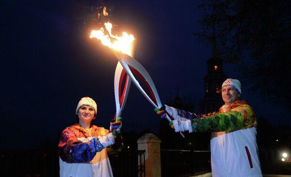 Участники Эстафеты Олимпийского огня в Рязани