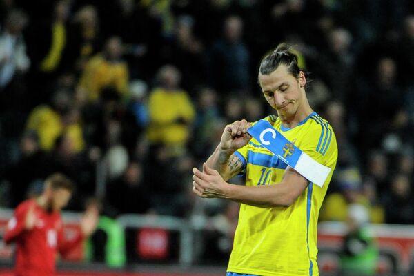 Нападающий сборной Швеции Златан Ибрагимович после поражения от португальцев в стыковых матчах