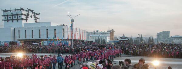 Эстафета олимпийского огня в Кызыле