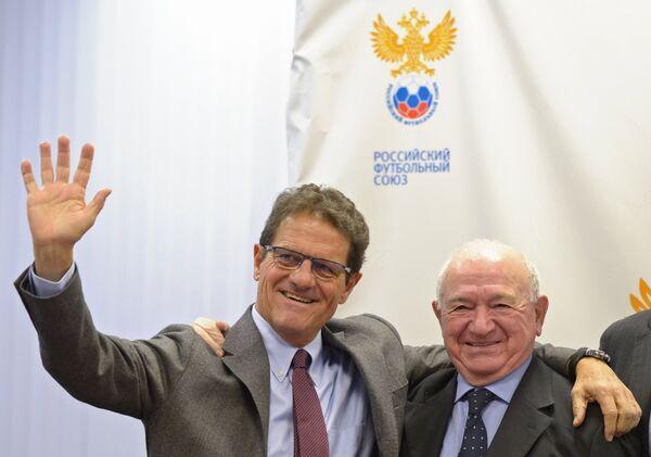 Главный тренер сборной России Фабио Капелло (слева) и вице-президент РФС Никита Симонян