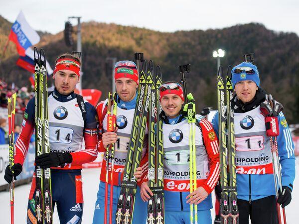 Команда России (третье место): Антон Шипулин, Дмитрий Малышко, Евгений Устюгов и Алексей Волков (слева направо)
