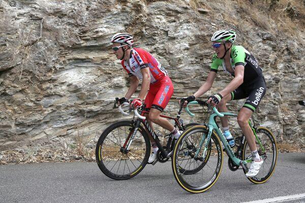 Российский гонщик команды Катюша Егор Силин (слева) на 5-м этапе гонки Мирового Тура Тур Даун Андер