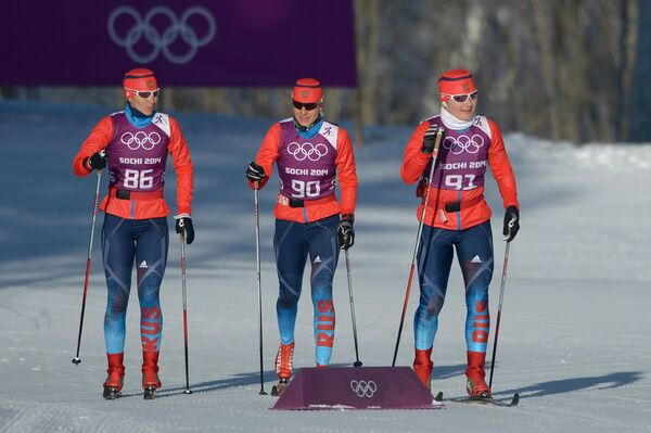 Россиянки Анастасия Доценко, Наталья Матвеева и Евгения Шаповалова (слева направо)