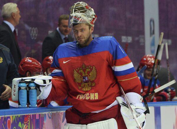 Вратарь российской хоккейной сборной Семен Варламов