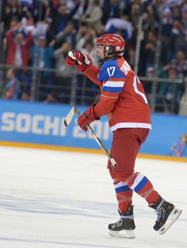 Екатерина Смоленцева (Россия) радуется забитому голу в матче группового этапа между сборными командами Швеции и России