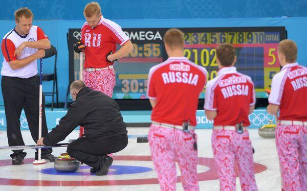 Игровой момент матча между сборными командами России и США