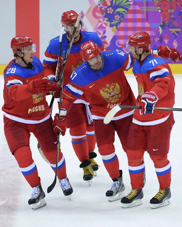 Александр Семин, Александр Овечкин, Александр Радулов и Илья Ковальчук (слева направо)