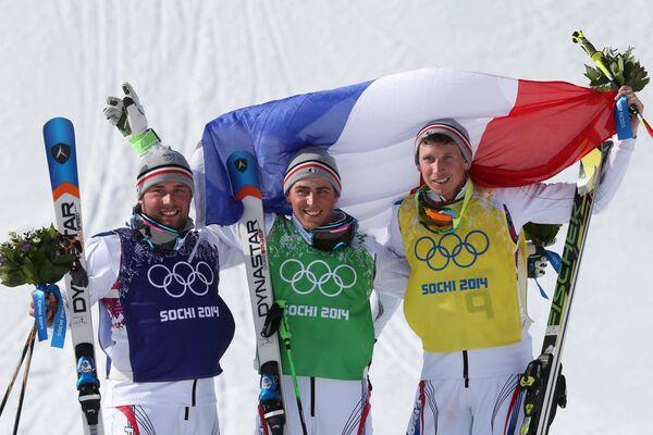 Арно Боволента (Франция) - серебряная медаль, Жан-Фредерик Шапюи (Франция) - золотая медаль, Жонатан Мидоль (Франция) - бронзовая медаль (слева направо)