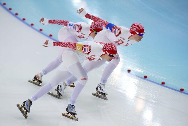 Спортсменки сборной России на дистанции